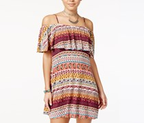 No Comment Juniors Cold-Shoulder Shift,  Rasberry Radience