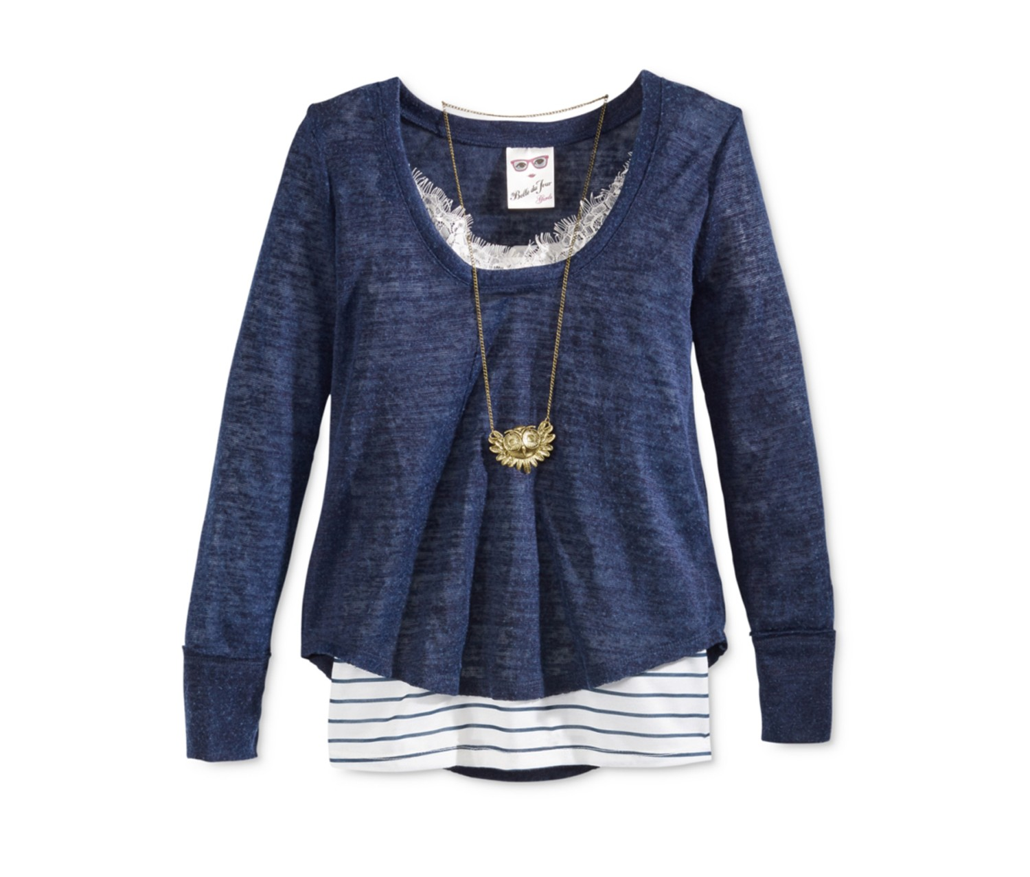 Raw-Edge Stripe & Lace Top & Necklace, Navy/White
