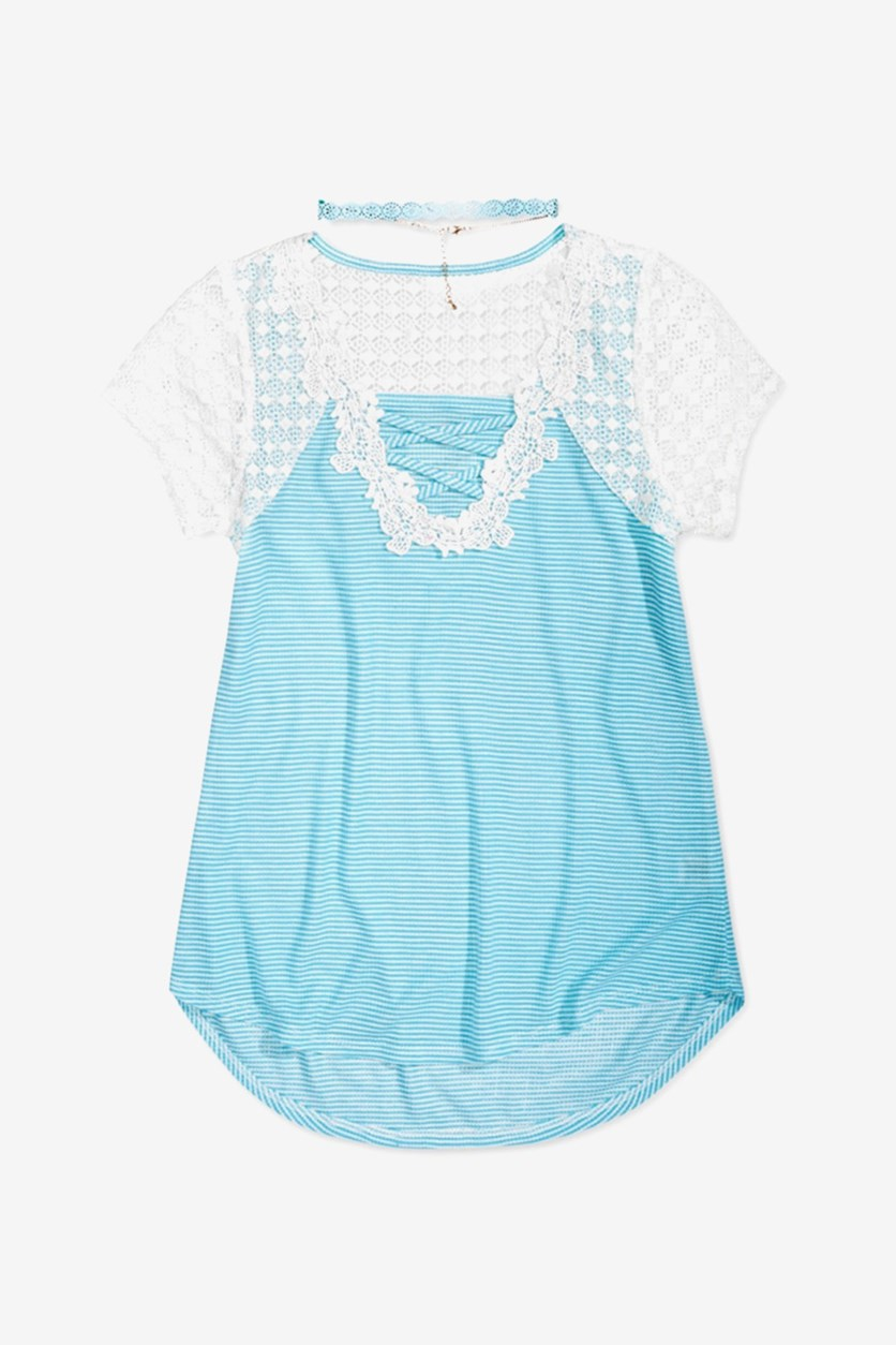 Lace-Front Big Girls Shirt, Azul Celeste