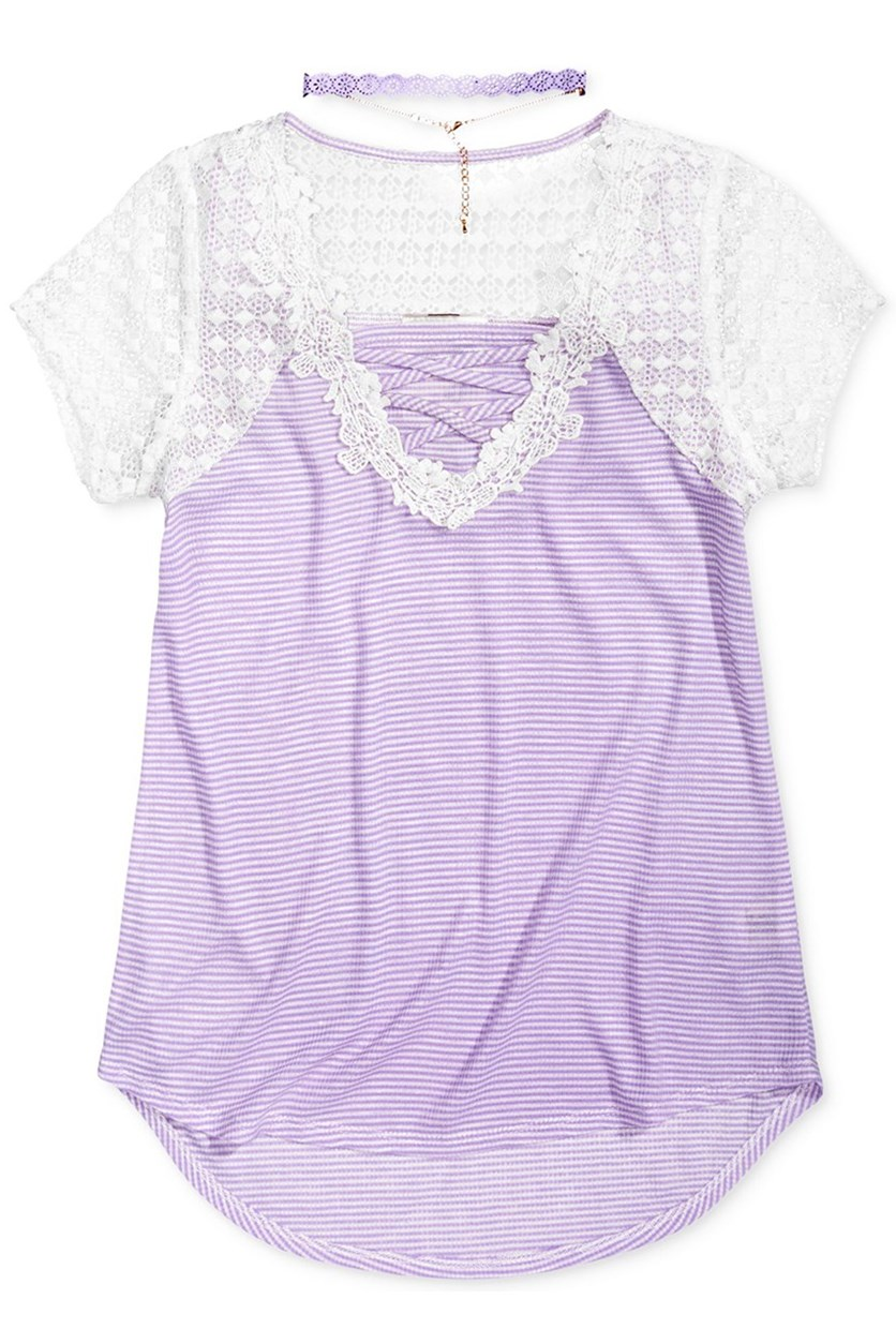 Lace-Front Shirt, Lilac/White