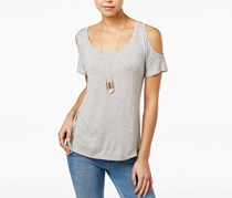 Self Esteem Juniors Cold-Shoulder Top, Heather Grey