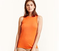 Ralph Laure Silk-Blend Sleeveless Top, Viena Orange