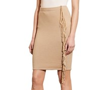 Lauren Ralph Lauren Suede-Fringe Pencil Skirt, Tan