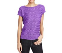Cable Short-Sleeve Sweater, Lilac