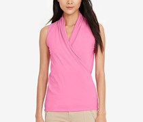Women's Faux-Wrap Surplice Shirt, Peace Rose