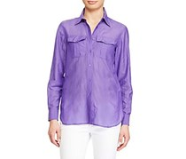 Ralph Lauren Women Broadcloth Shirt, Lilac