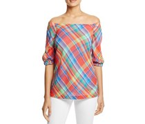 Ralph Lauren Cold Shoulder Madras Plaid Top, Orange