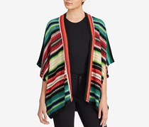 Ralph Lauren Striped Open-Front Cardigan, Black/Blue/Red