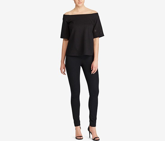 Ponte Off-The-Shoulder Top, Black
