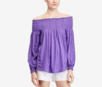 Lauren Ralph Lauren Smocked Off-The-Shoulder Top, Lilac