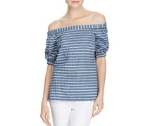 Ralph Lauren Striped Off-The-Shoulder Top, Blue/White