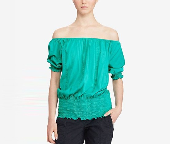 Ralph Lauren Petite Off-The-Shoulder Jersey, Tropic Turquoise