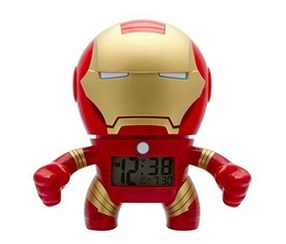 BulbBotz Iron Man Digital Light Up Alarm Clock, Red