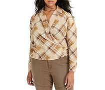 Ralph Lauren Plus Plaid Crepe Wrap Shirt, Cream/Olive