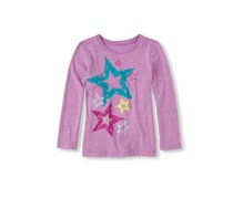 Girl's Long Sleeve Star Graphic Tee, Neon Lilac