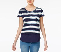Women Striped Contrast Top, Navy/White Combo