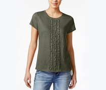 Maison Jules Ruffled Cotton T-Shirt, Dusty Olive