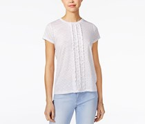 Maison Jules Linen Ruffled T-Shirt, Bright White