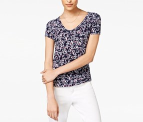 Maison Jules Cotton Anchor-Print T-Shirt, Blue Notte