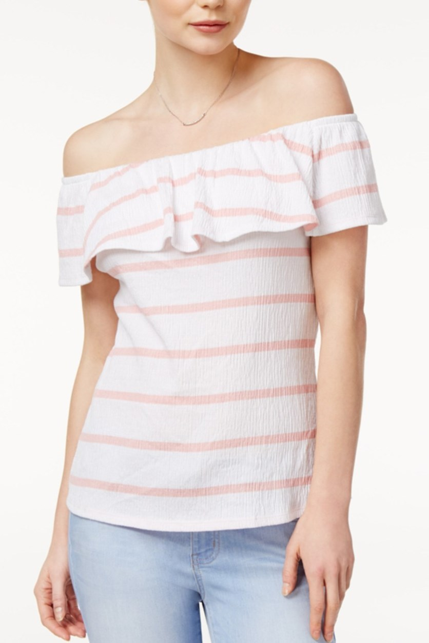 Striped Off-The-Shoulder Flounce Top, Soft Shell Combo