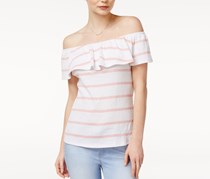 Maison Jules Striped Off-The-Shoulder Flounce Top, Soft Shell Combo