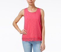 Maison Jules Cotton Crochet-Hem Tank Top, Berry Sorbet