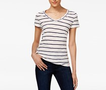 Maison Jules Cotton Striped Top, White Combo