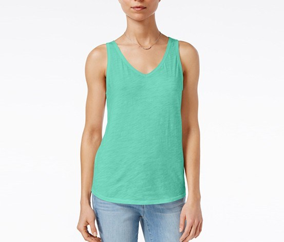 Cotton V-Neck Tank, Top Aqua Sky