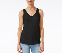 Maison Jules Cotton V-Neck Tank Top, Deep Black
