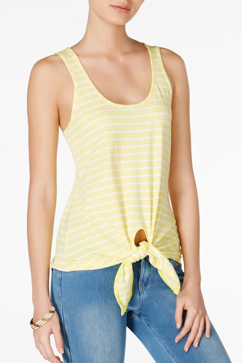 Cotton Tie-Hem Tank Top, Acid Yellow Combo
