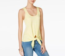 Maison Jules Cotton Tie-Hem Tank Top, Acid Yellow Combo
