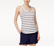 Maison Jules Cotton Striped Tank Top, Bright White Combo