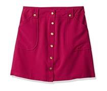 Kids Girls Snap Front Skirt WIT Pockets, Berry