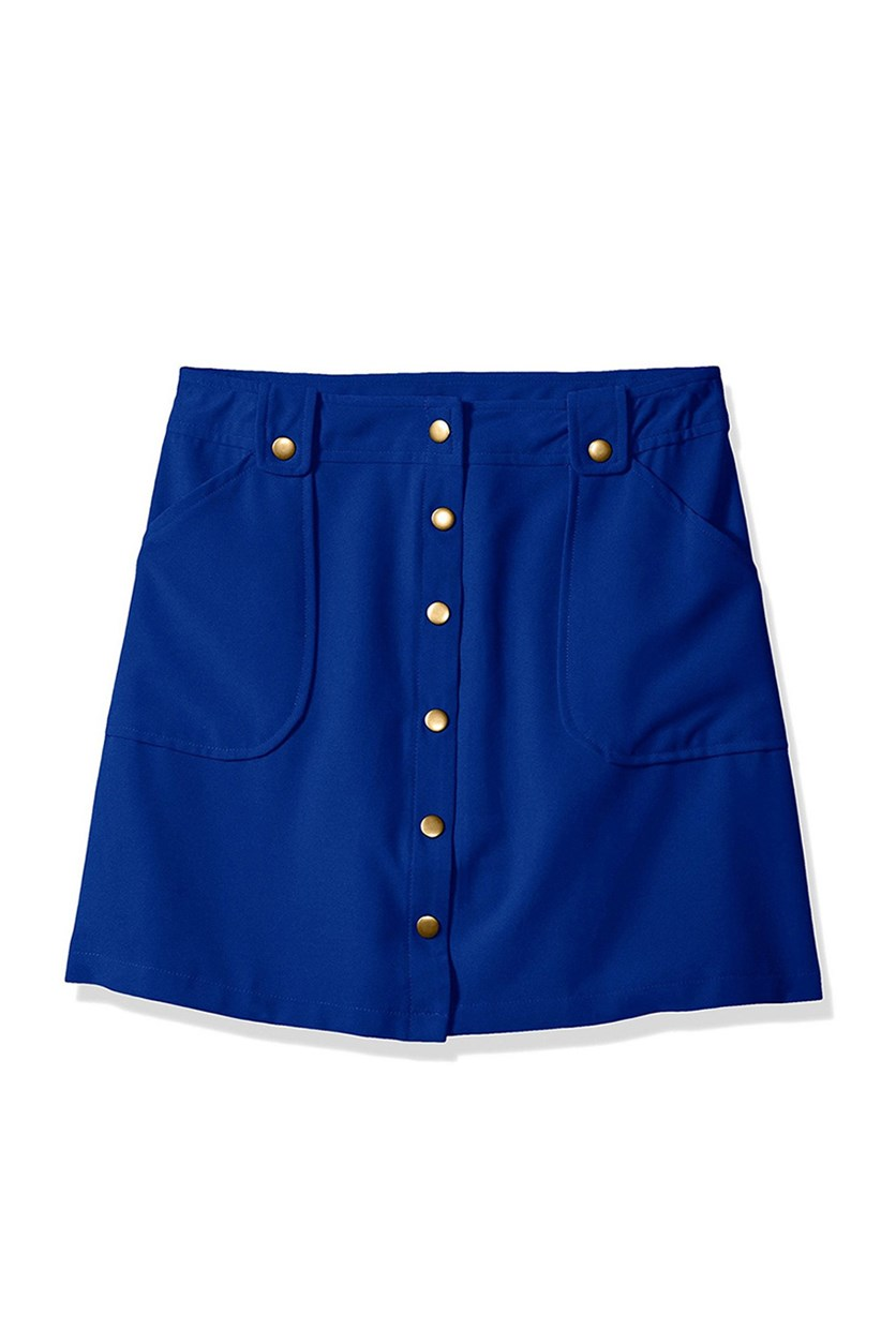 Big Girls' Snap Front Skirt WIT Pockets, Cobalt Blue