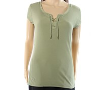 Ralph Lauren Lace-Up Ribbed T-Shirt, Spring Sage