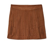 Amys Closet Layered Fringe Faux-Suede Skirt, Brown