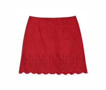 Ally B. Faux Suede Laser Cut Mini Skirt, Paprika