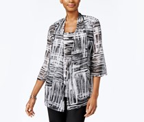 JM Collection Printed Layered-Look Top, Chaos