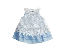 Sweet Heart Rose Baby Girls Lace Trapeze Dress, White/Blue
