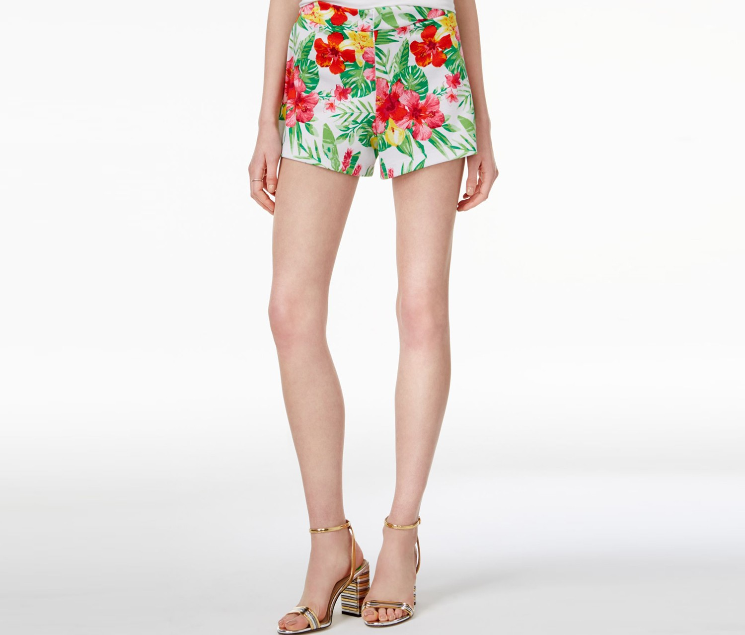 The Edit By Seventeen Juniors Floral-Print Shorts, Tropical