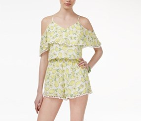 Juniors' Cold-Shoulder Pom Pom Romper, Yellow