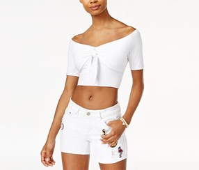 The Edit By Seventeen Junior's Tie-Front Off-The-Shoulder Crop Top, White
