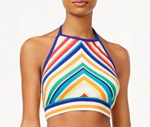 The Edit By Seventeen Juniors Rainbow Stripe Printed Cropped Halter Top, Orange/Pink/Green