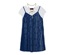 Bcx Layered-Look Slip Dress, T-Shirt & Necklace Set, Navy/White