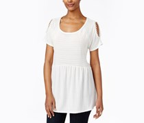 Style & Co. Cold-Shoulder Lace-Trim Peplum Top, Ivory