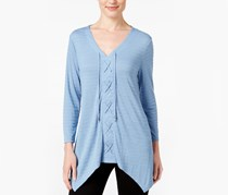 Style Co Lace-Up Handkerchief-Hem Top, Blue Fog