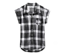 Epic Threads Girls' Plaid Sleeveless Shirt, Deep Black