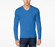 Club Room Men's Big and Tall Merino Wool V-Neck Sweater, Palace Blue