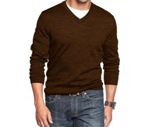Men's Merino Blend V-Neck Sweater, Coffee Bean