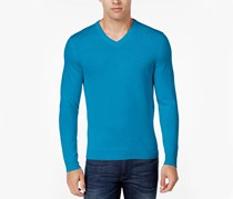 Club Room Men's Merino Wool V-Neck Sweater, Diva Blue
